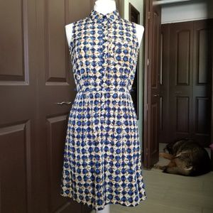 Sleeveless Collared Abstract Print Dress NWOT